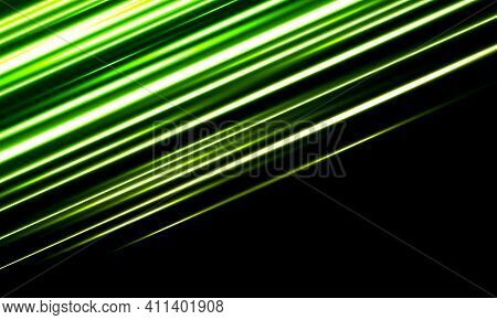 Abstract Green Line Lights High Speed Motion Dynamic On Blank With Blank Space Futuristic Technology