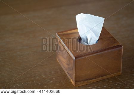 Rectangle Wooden Tissue Box And White Tissue In The Box. Equipment For Home Or Restaurant
