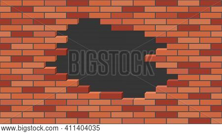 Broken Brick Wall With A Hole. 3d Isometric View, Red Brick Stone Wall Destroyed, Building Ruins. Sl