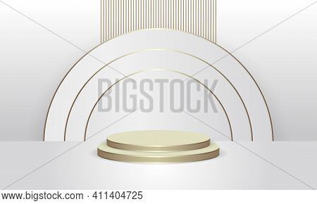 Abstract Round Display Scene For Product. Golden Podium In White Background With White And Gold Circ