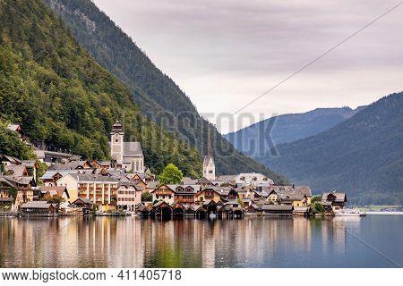 Center Of Village Hallstatt In Upper Austria