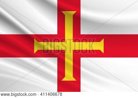 Flag Of Guernsey. Fabric Texture Of The Flag Of Guernsey.