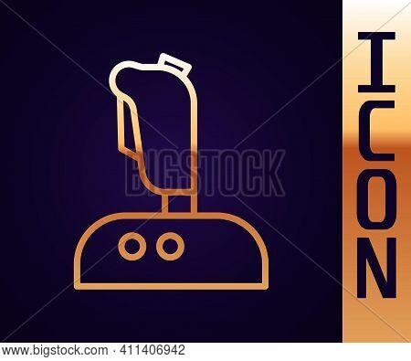 Gold Line Joystick For Arcade Machine Icon Isolated On Black Background. Joystick Gamepad. Vector Il