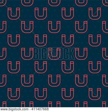 Red Line Magnet Icon Isolated Seamless Pattern On Black Background. Horseshoe Magnet, Magnetism, Mag
