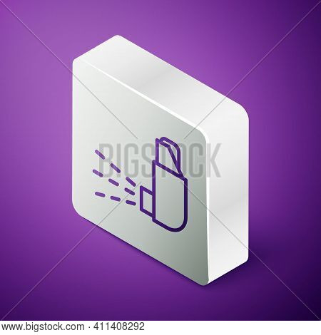 Isometric Line Inhaler Icon Isolated On Purple Background. Breather For Cough Relief, Inhalation, Al