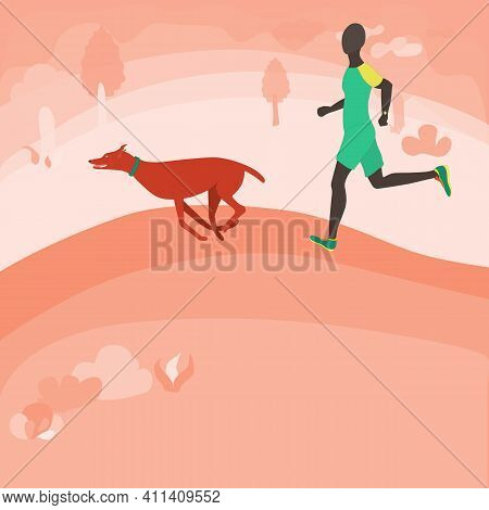 Man Running With A Dog In The Park. Happy Doberman And His Owner Running Fast On The Park Alley. Out