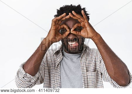 Carefree, Handsome Playful Funny African American Man With Beard, Making Goofy Expression, Showing G