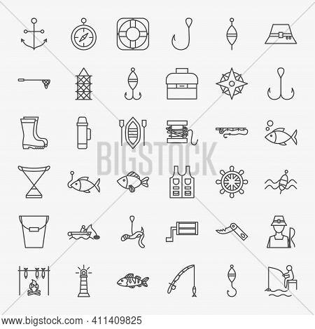 Fishing Line Icons Set. Vector Thin Outline Fisherman Symbols.