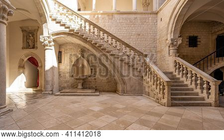 Dubrovnik, Croatia - Aug 22, 2020: Atrium Staircase Inside Rectors Palace In Old Town