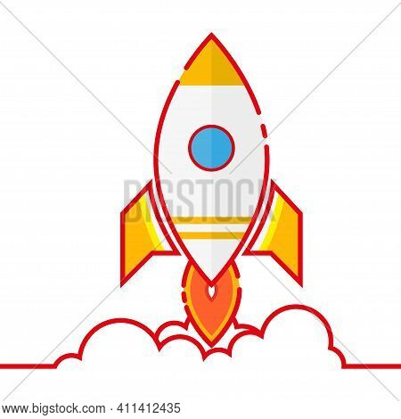 Cartoon Rocket Spaceship Taking Off, Isolated. Retro Spaceship Simple Icon.vector Illustration