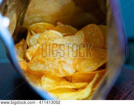 Chips Inside The Bag. Junk Food.fast Food