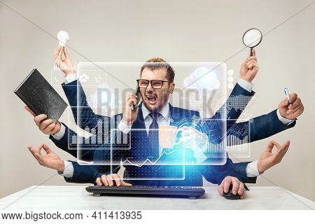 Businessman With Many Hands In A Suit. Works Simultaneously With Several Subjects, Business Virtual