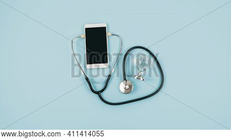 Telemedicine Or Telehealth Virtual Visit, Video Visit, Remote Doctor Video Chat Consultation Concept