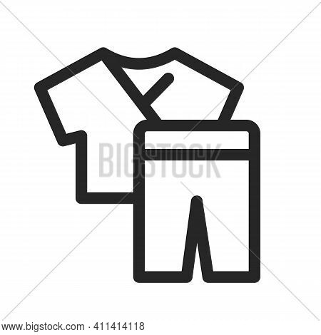 Medical Uniforms Scrub. Sets With Pants And Shirt Icon. Clothes For Doctors, Nurses. Vector Thin Lin