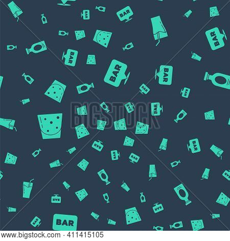 Set Alcohol Bar Location, Glass Of Juice, Rum And Drink Rum On Seamless Pattern. Vector