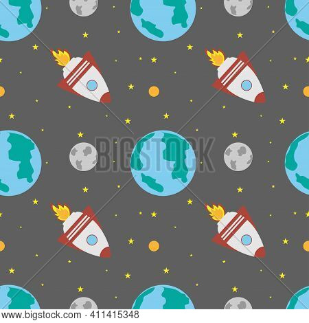 A Space Rocket Flies Near The Earth And The Moon On A Gray Background. Space Exploration. Travel To