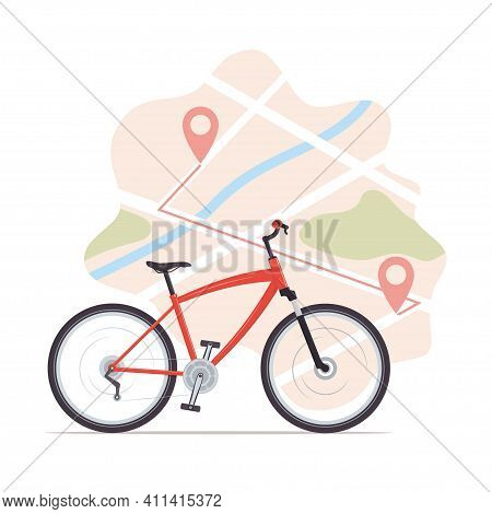 Bike, Map With Start And Finish Markers. Bicycle Rental, Bike Sharing Or Delivery Service. City Map