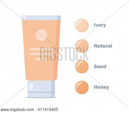 Liquid Foundation Color Shades Palette. Make Up Cosmetic Products For Banner, Poster. Liquid Foundat