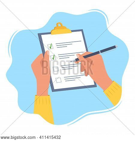 Hands Holding Clipboard With Checklist With Green Check Marks And Pen. Human Filling Control List On