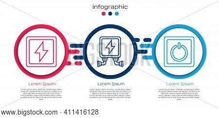 Set Line Lightning Bolt, Electric Transformer And Electric Light Switch. Business Infographic Templa
