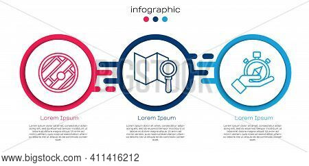 Set Line Folded Map With Location, Search Location And Compass. Business Infographic Template. Vecto