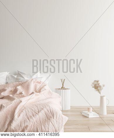 Mockup Frames In Minimalist Modern Bedroom Interior Background, Scandinavian Style, 3d Illustration