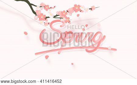 Spring. Vector Realistic 3d Illustration. 3d Blending Spring Banner. Cutout Letters With Sakura Bols