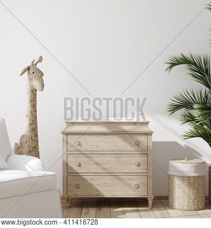 Blank Wall Mock Up In Cozy Nursery Interior Background, Scandinavian Style, 3d Illustration