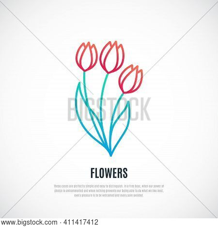 Red Tulips Bouquet Isolated On White Background. Decorative Tulips Design. Vector Illustration.