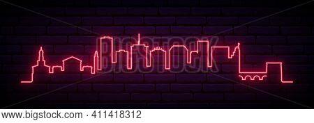 Red Neon Skyline Of Richmond. Bright Richmond City Long Banner. Vector Illustration.