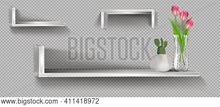 Realistic Bookshelf With Flowers. White Plywood Empty Wall Shelf, Modern Hardwood Furniture, Set Of