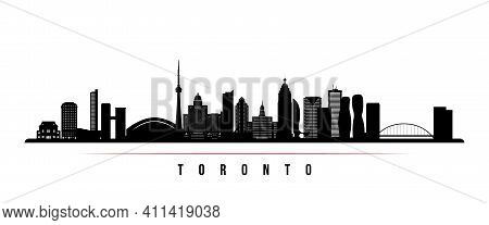 Toronto Skyline Horizontal Banner. Black And White Silhouette Of Toronto, Canada. Vector Template Fo