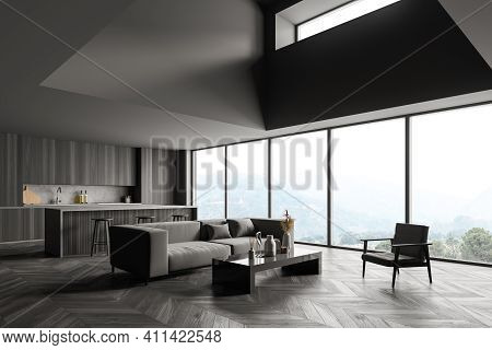 Black Wooden Interior Of Kitchen With Bar Chairs And Kitchenware, Side View, Grey Sofa And Armchair
