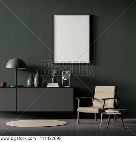 Modern Interior Of Living Room With Wooden Cabinet And Armchair. Lamp, Vases. Mock Up Poster Frame O