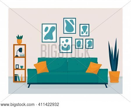 Interior Modern Living Room With Bookcase, Sofa, Houseplant. Home Illustration With Sofa, Lamp, Hous