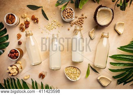 Vegan Non Dairy Plant Based Milk In Bottles And Ingredients On Light Background. Lactose Free Milk S