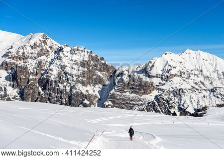 Mountain Range Of The Monte Carega In Winter With Snow, Also Called The Small Dolomites View From Th