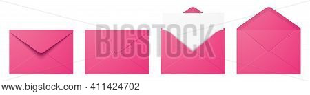 Vector Set Of The Realistic Pink Envelopes.