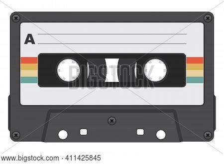 Retro Cassette Tape Color Isolated Vector Illustration