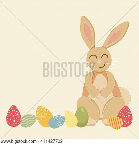 Happy Easter Day.a Greeting Card Or Banner For A Website.an Illustration With A Cute Little Rabbit A