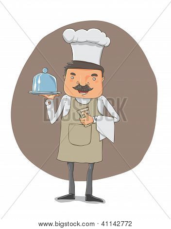 waiter with a tray and notebook