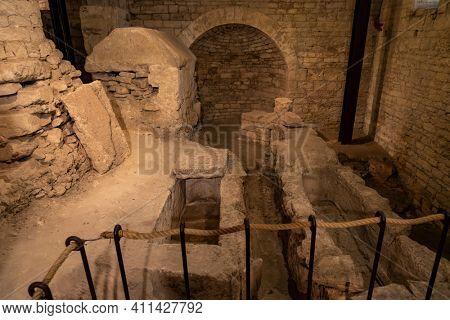 Old foundations under Ruvo di Puglia cathedral, Puglia, Italy