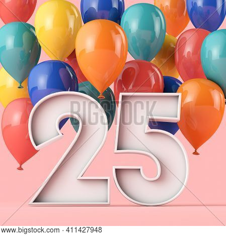 Happy 25th Birthday Background With Colourful Balloons. 3d Rendering