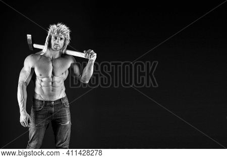Wellness Industry. Strong Man Hold Hammer Black Background. Heavy Factory Worker With Abs. Wellness