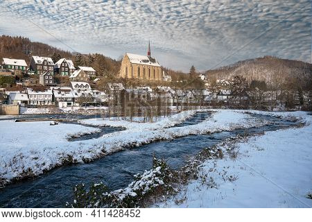 Panoramic Image Of Beyenburg Close To Wuppertal On A Winter Day With Snow Covered Landscape, Bergisc