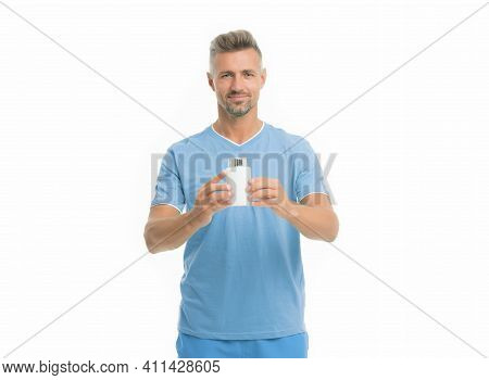 Medicines Concept. Health Is Wealth. Bearded Man Holding Vitamin Pill Container. Health Pill. Mature