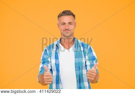 I Like Fashion A Lot. Fashion Man Give Thumbs Ups Yellow Background. Casual Look Of Fashion Model. F