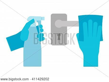Wipe And Clean Doorknob With Antibacterial Disinfecting Wipe In Gloves For Protection Bacterial And