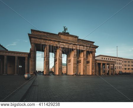 Berlin, Germany - March 05, 2021: View Towards Famous Brandenburger Tor. One Of The Most Famous Monu