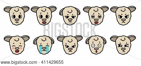Set Of Vector Farm Isolated Muzzle Sheep With Different Emotion. Happy, Sad, Cry, Angry, Upset, In L